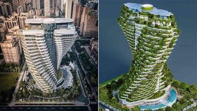 """Những công trình """"lóa mắt thế giới"""" - Bài 13: Tòa tháp uốn vặn chứa 23.000 cây xanh, hấp thụ 130 tấn khí CO2 mỗi năm ở Đài Loan"""
