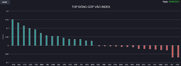 """Chứng khoán 9/6: Ngân hàng trở lại """"đường đua"""", VN-Index tăng 13 điểm sau phiên giảm sâu - Ảnh 1"""