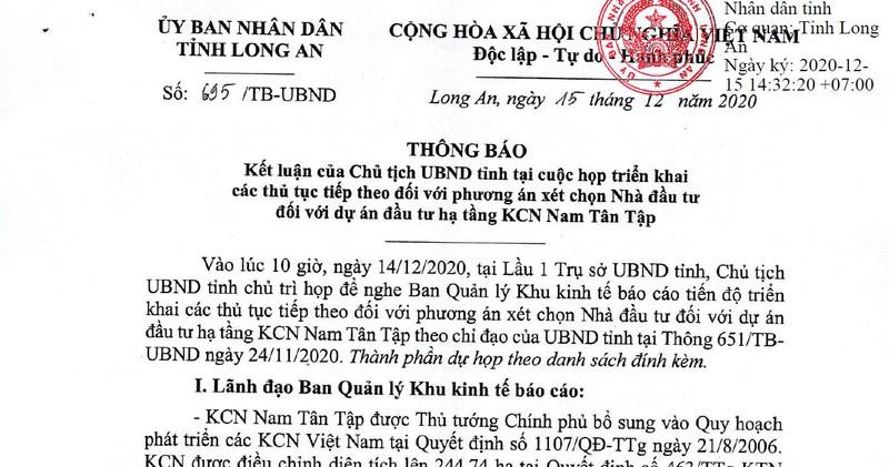 """Quyết định """"chọn mặt gửi vàng"""" của UBND tỉnh Long An với Dự án Nam Tân Tập được đánh giá là đúng luật, phù hợp thực tế"""
