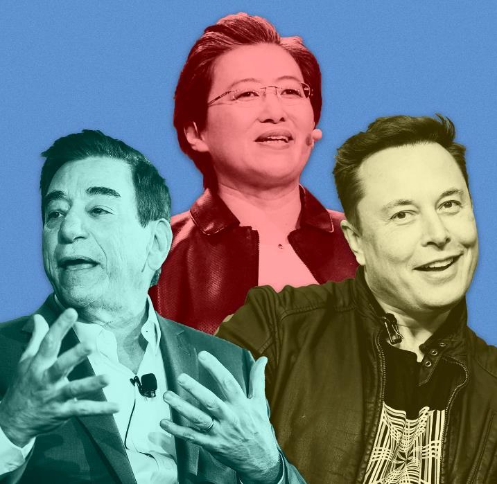Từ trái qua, Leonard Schleifer (CEO Regeneron Pharmaceuticals); Lisa Su (CEO AMD) và Elon Musk (CEO Tesla). Ảnh: Getty Images.
