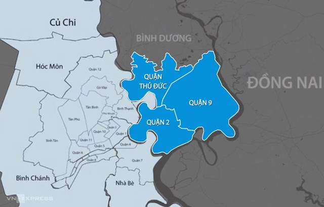 TP Thủ Đức thành lập trên cơ sở sáp nhập 3 quận 2, 9 và Thủ Đức.