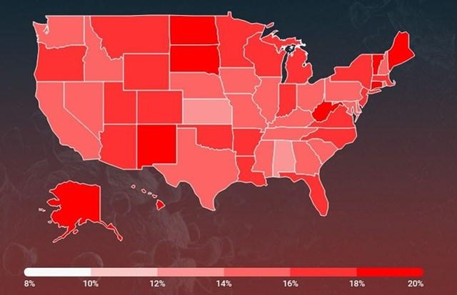 Bản đồ minh họa tỷ lệ người dân được tiêm phòng vaccine Covid-19 tại các bang của Mỹ