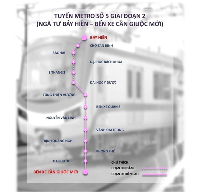 Lược đồ duỗi thẳng tuyến metro số 5 giai đoạn 2. Ảnh:MAUR.