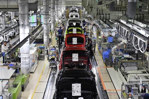 Dây chuyền sản xuất xe ôtô của Tập đoàn Toyota, Nhật Bản tại nhà máy Tsutsumi ở quận Aichi.