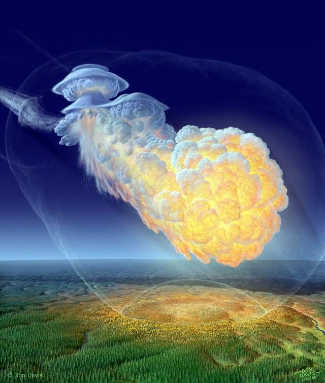 Hình ảnh phục dựng của siêu vụ nổ trên không Tunguska (1908)t