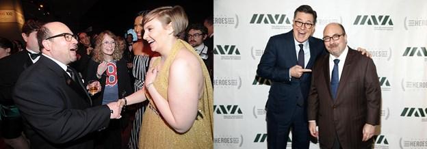 Newmark bắt tay nữ diễn viên Lena Dunham và chụp ảnh cùng nghệ sĩ hài kịch Stephen Colbert