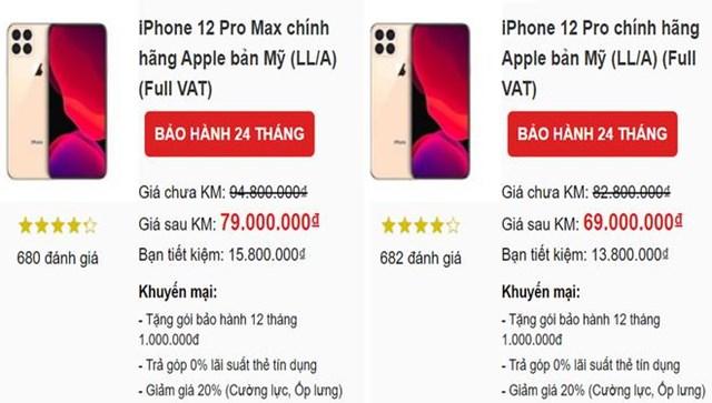 Một vài hệ thống di động đưa báo giá lên đến 79 triệu đồng cho chiếc iPhone 12 Pro Max.