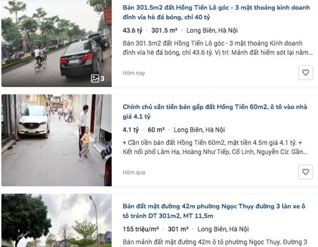 Nhiều thông tin rao bán đất ăn theo đường vành đai 4 và cầu Trần Hưng Đạo. Ảnh chụp từ trang mua bán bất động sản