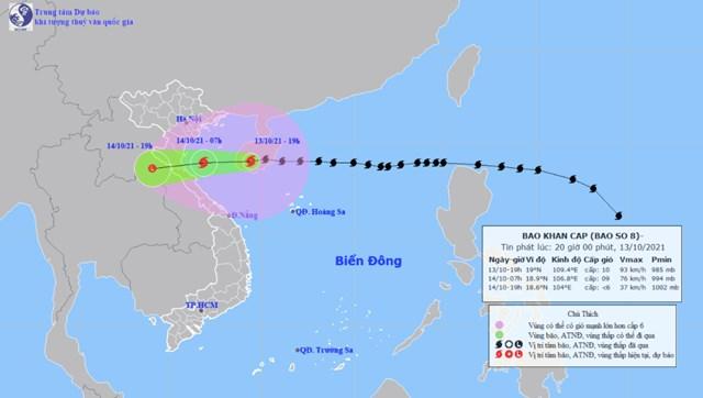 Dự báo đường đi của bão số 8. Ảnh:Trung tâm Dự báo khí tượng thủy văn quốc gia
