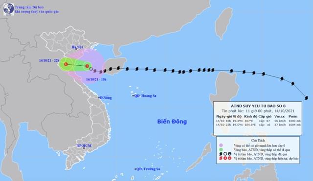 Bão số 8 suy yếu thành áp thấp nhiệt đới, đổ bộ vào khu vựcThanh Hóa đến Quảng Bình. Ảnh:Trung tâm Dự báo khí tượng thủy văn quốc gia