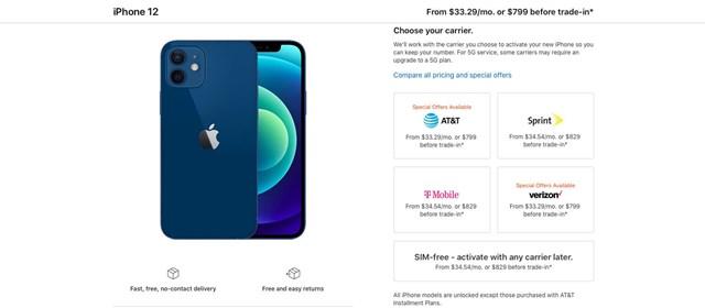 """Hình ảnh trên web cho thấy chỉ có iPhone từ 2 nhà mạng AT&T và Verizon sẽ được sở hữu mức giá """"hời"""""""