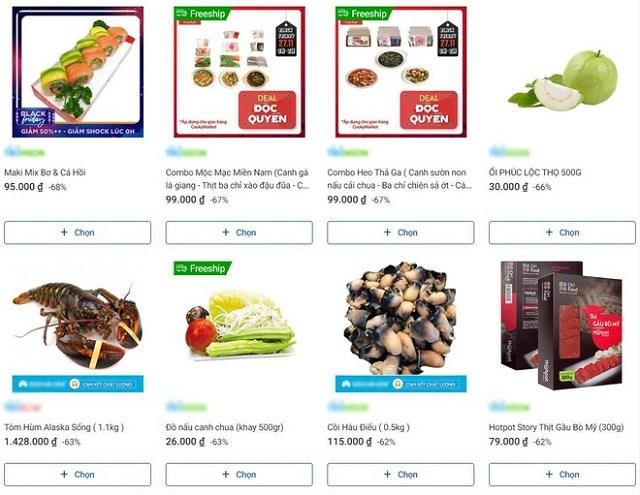 Các loại thực phẩm tươi sống được giới thiệu giảm giá mạnh dịp Black Friday.Ảnh chụp màn hình.