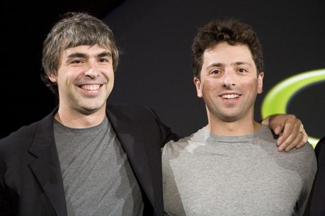 Hai nhà đồng sáng lập Google Larry Page và Sergey Brin vừa gia nhập câu lạc bộ tỷ phú 100 tỷ USD. Ảnh:Getty Images