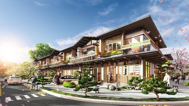 Phối cảnh nhà phố tại phân kỳ Binh Chau Onsen