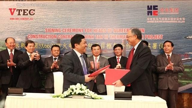 Công ty cổ phần Năng lượng Vĩnh Tân 3 (VTEC) ký kết biên bản thỏa thuận về hợp đồng xây dựng dự án nhiệt điện Vĩnh Tân 3 với công ty công trình điện Quốc tế Harbin (Trung Quốc).