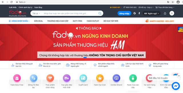 Fadothông báo ngừng kinh doanh các sản phẩm thương hiệu H&M trên website. (Ảnh chụp màn hình)