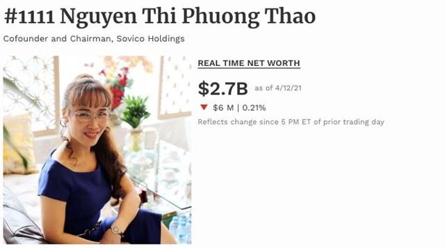 """Tài sản """"nữ tướng"""" Vietjet Air bốc hơi 6 triệu USD trong thời gian gần đây."""