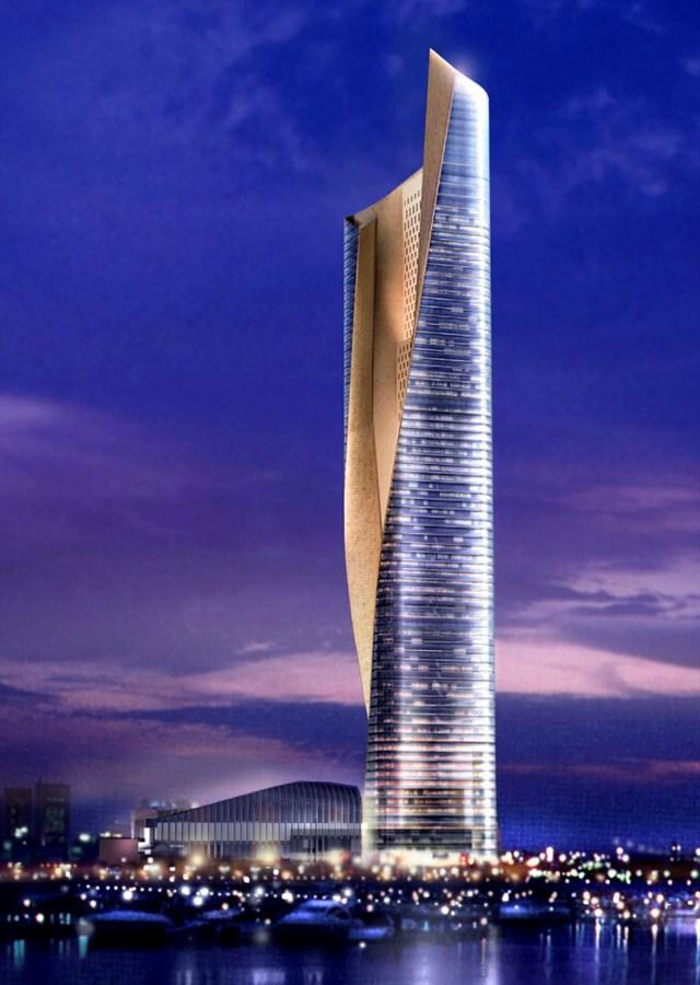 Mang vẻ đẹp hiện đại như một khối đá, Al Hamra Firdous nổi bật giữa nền trời xanh và là tòa tháp cao nhất ở Kuwait.