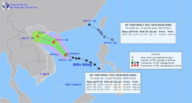 Vị trí và dự báo đường đi của hai áp thấp nhiệt đới - Nguồn: Trung tâm dự báo khí tượng thủy văn quốc gia