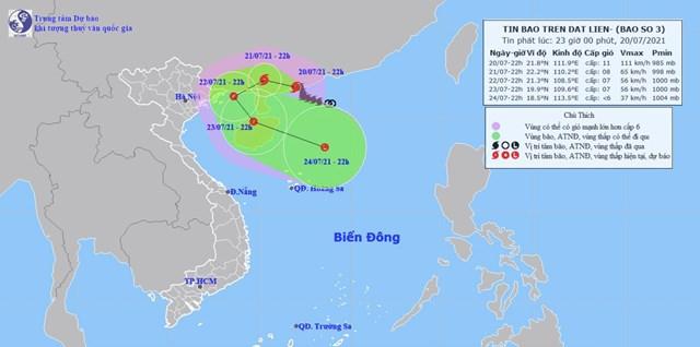 Đường đi dự kiến của bão Cempaka. Nguồn:Trung tâm dự báo khí tượng thủy văn quốc gia
