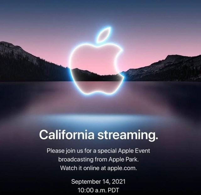Thư mời sự kiện California streaming diễn ra vào 14/9 của Apple