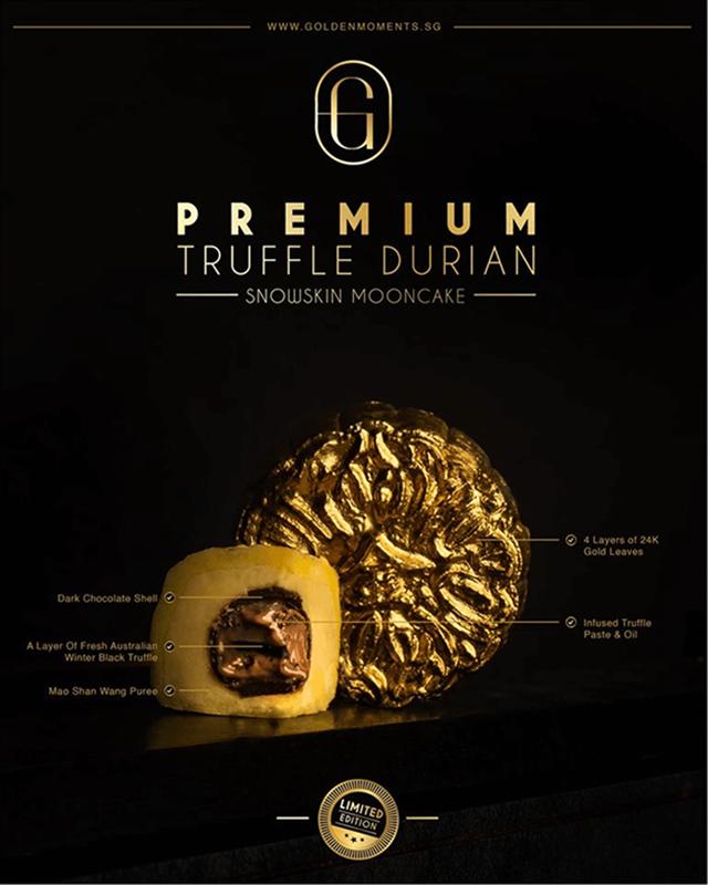 Sản phẩm bánh trung thu phủ vàng phiên bản giới hạn mang tên Premium Mao Shan Wang Truffle Snowskin Mooncake.