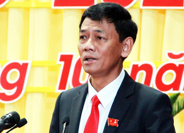 Ông Lâm Văn Mẫn tại Đại hội Đảng bộ tỉnh Sóc Trăng khóa XIV, hôm 14/10. Ảnh: Hưng Lợi