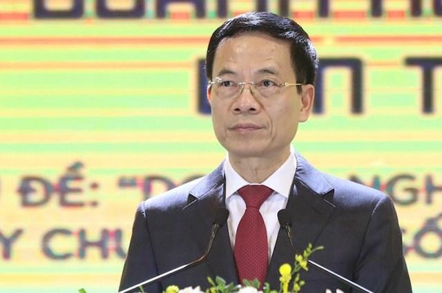 Bộ trưởng Nguyễn Mạnh Hùng phát biểu khai mạc. (Ảnh: VnExpress)