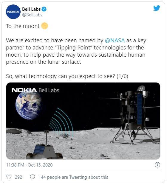 Nokia vừa giành được hợp đồng hợp tác với NASA trị giá 14,1 triệu USD trên mặt trăng.