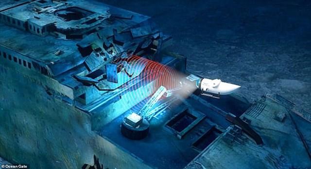 """Trong quá trình lặn, những """"chuyên gia sứ mệnh"""" sẽ giúp scan lazer và quay video 4K để hỗ trợ quá trình tạo ra hình ảnh 3D ảo mô phỏng con tàu bị đắm."""