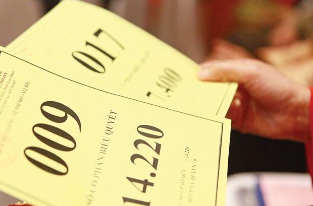 Thẻ biểu quyết của cổ đông tại Đại hội cổ đông. Ảnh: Báo Đầu tư