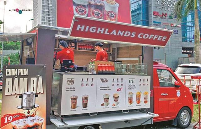 Một quán cà phê lưu động của Highland Coffee.