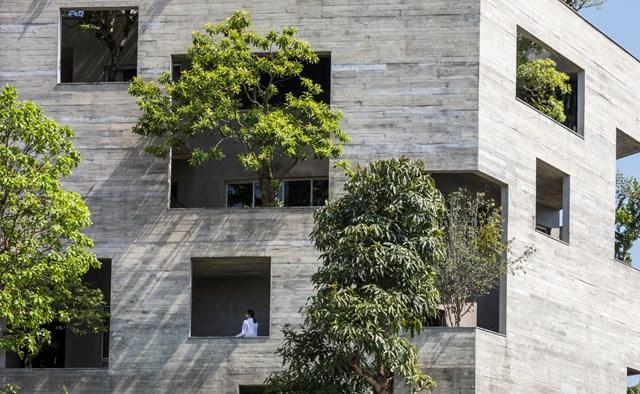 Với thiết kế hình ngũ giác nhỏ nằm trong hình ngũ giác lớn hơn, nhìn từ xa 'Hạ Long Villa' giống như một pháo đài xanh kiên cố.