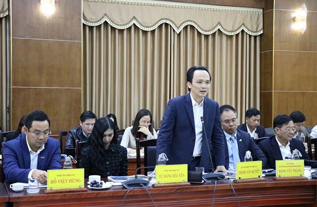 Chủ tịch HĐQT Tập đoàn FLC Trịnh Văn Quyết phát biểu tại cuộc họp.