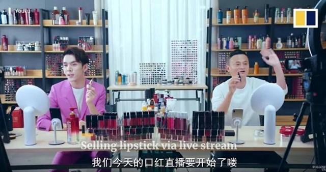 Li Jiaqi và Jack Ma của Alibaba livestream bán hàng trong Ngày Độc thân. Ảnh: Youku