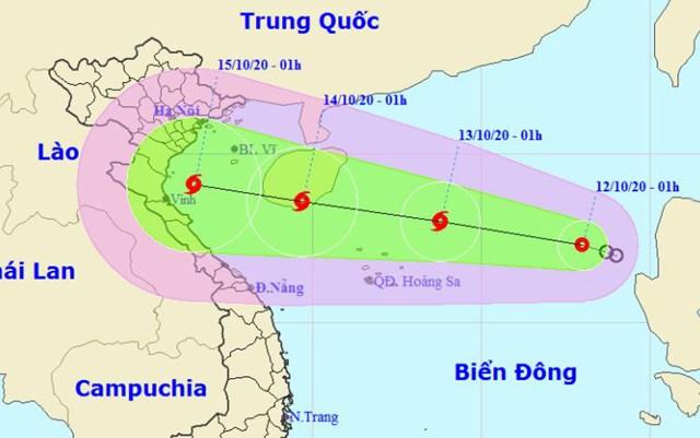 Sơ đồ dự báo hướng đi áp thấp nhiệt đới mới - Ảnh: Trung tâm dự báo khí tượng thủy văn quốc gia