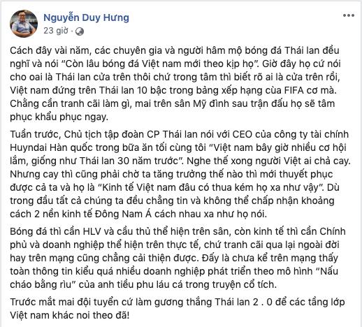 Chủ tịch SSI Nguyễn Duy Hưng kỳ vọng tuyển Việt Nam sẽ