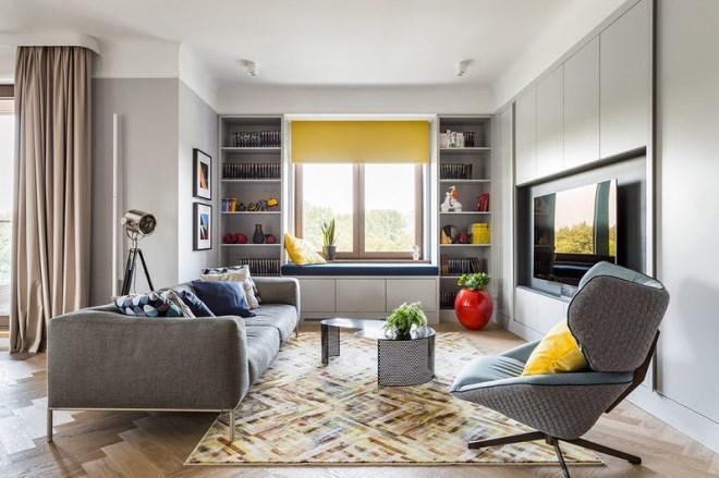 Ngôi nhà trang trí nội thất màu xanh và vàng lạ mắt - Ảnh 1